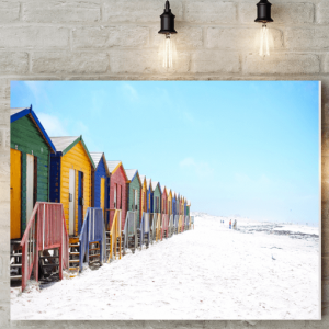 Colourful Beach Huts Canvas Picture