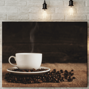Kitchen Steaming Coffee Cup Picture Canvas