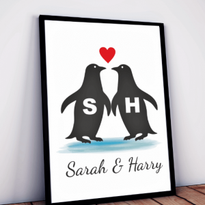 Personalised Penguins Love Print
