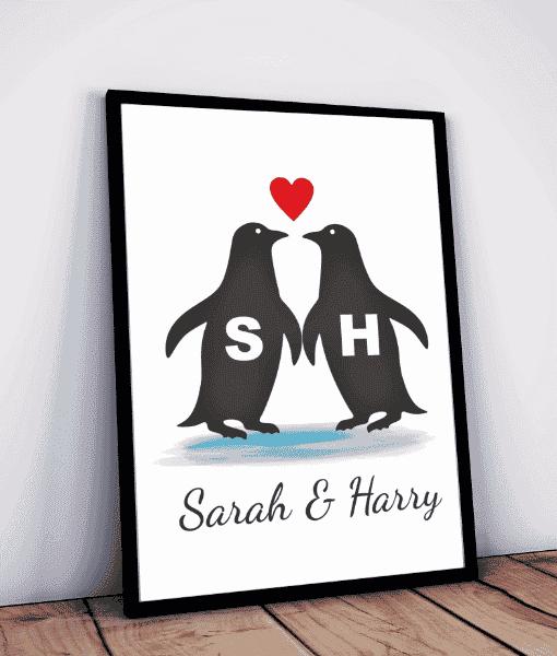 Personalised Penguins Love Print