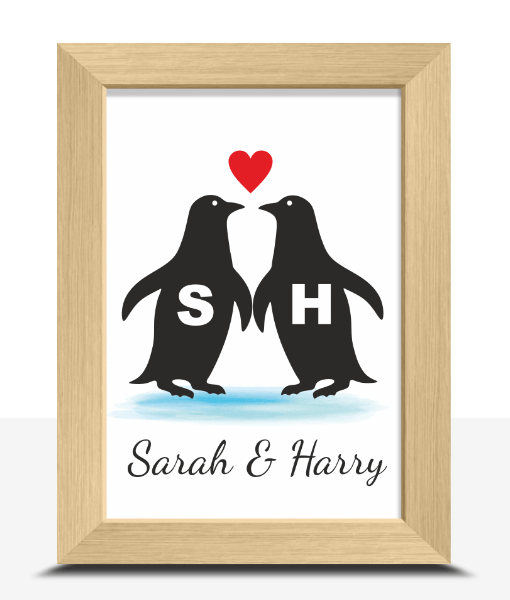 Anniversary Gifts Personalised Penguins Love Print