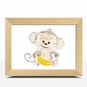 Animal Prints Personalised Monkey Word Art Print