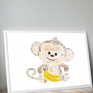 Personalised Monkey Word Art Print