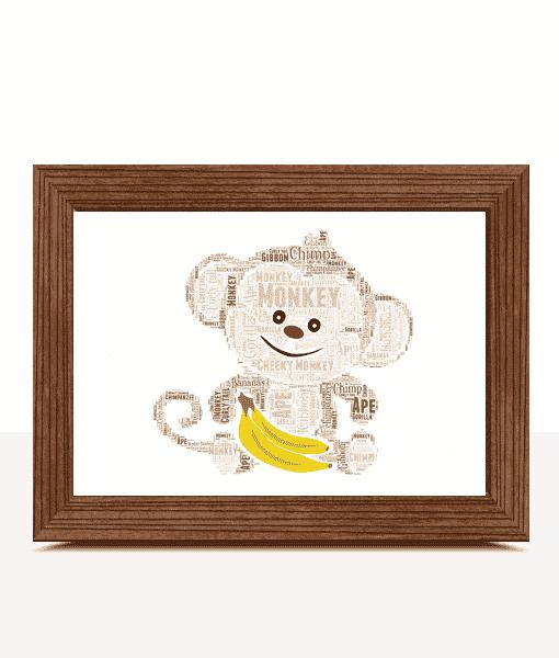 Personalised Monkey Word Art Print Animal Prints