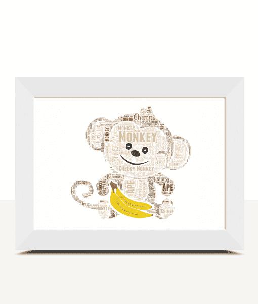 Personalised Monkey Word Art Print