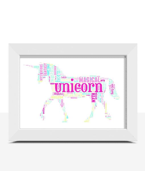 Animal Prints Personalised Unicorn Word Art