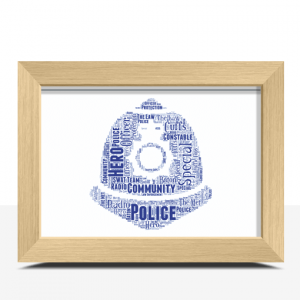 Gifts For Him Policeman Helmet Word Art Print
