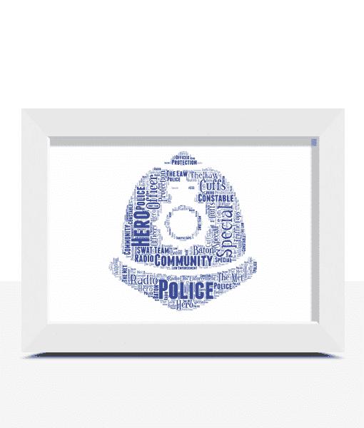 Policeman Helmet Word Art Print