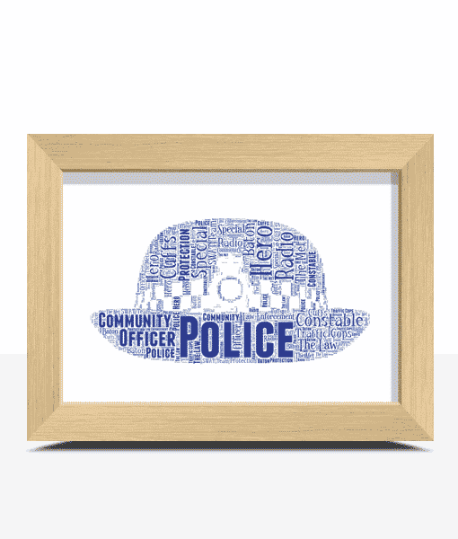 Gifts For Her Policewoman Hat Word Art Print