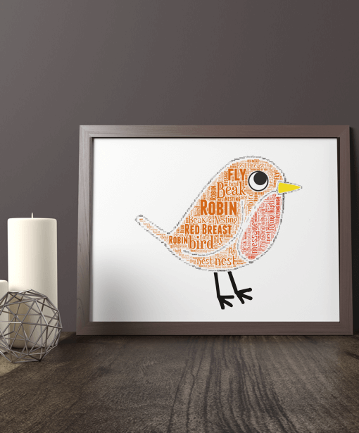 Animal Prints Personalised Robin Word Art Christmas Gift