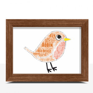 Personalised Robin Word Art Christmas Gift