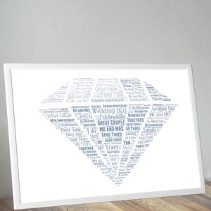 Anniversary Gifts Diamond Wedding 60th Anniversary Word Art Gift