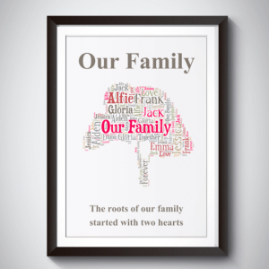 Family Personalised Family Tree Word Art