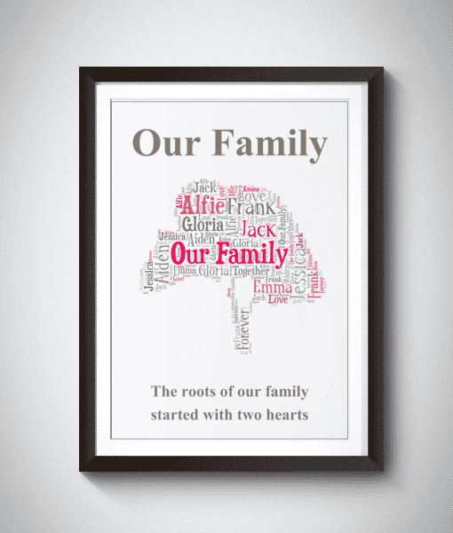 Personalised Family Tree Word Art