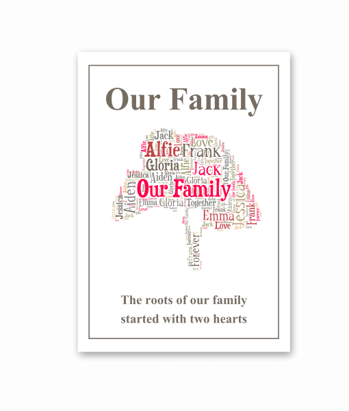 family tree word art print only