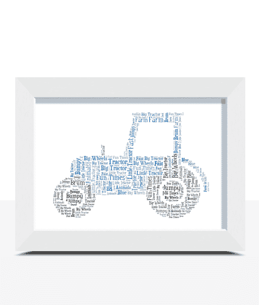 Christening Gifts Personalised Tractor Word Art Print