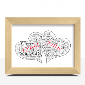 Personalised Twin Hearts Word Art Gift