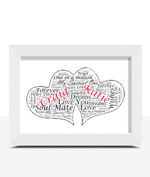 Engagement Gifts Personalised Twin Hearts Word Art Gift