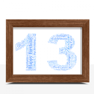 Personalised 13th Birthday Word Art Gift