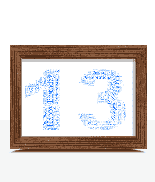 Birthday Gifts Personalised 13th Birthday Word Art Gift