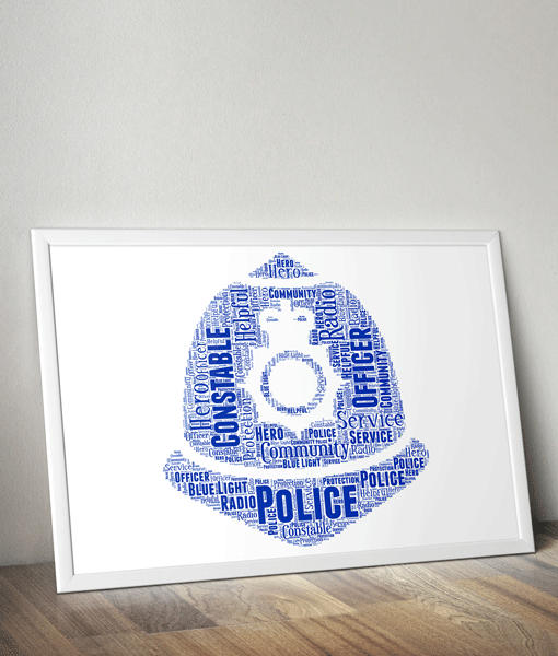 Gifts For Him Policeman Helmet Word Art Print