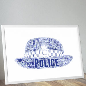 Policewoman Hat Word Art Print
