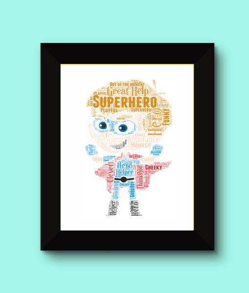 Super Hero Boy Word Art Print