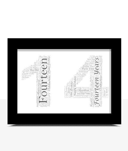 Birthday Gifts Personalised 14th Birthday Word Art Gift