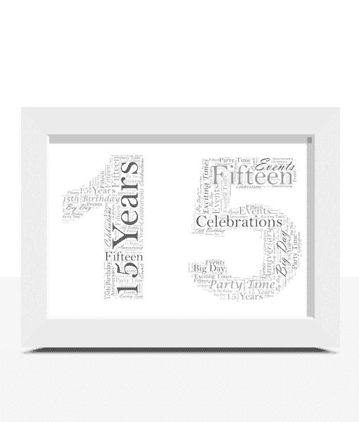 Anniversary Gifts Personalised 15th Birthday Word Art Gift