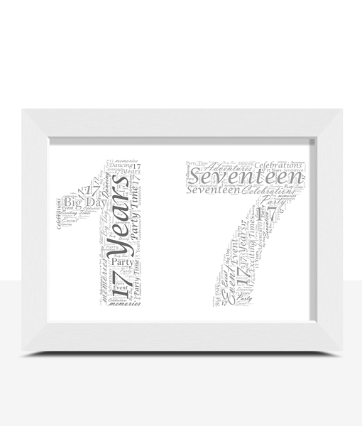 Personalised 17th Birthday Word Art Gift