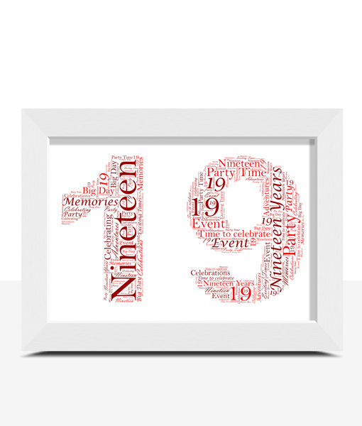 Personalised 19th Birthday Word Art Gift