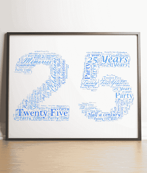 Anniversary Gifts 25th Birthday – Silver Anniversary Word Art Gift