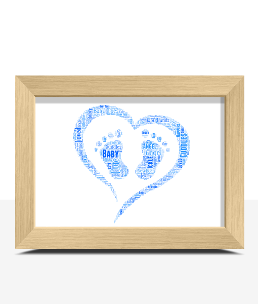 Baby Shower Gifts Personalised Footprint Word Art – New Baby Gift