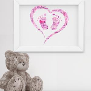 Personalised Footprint Word Art – New Baby Gift