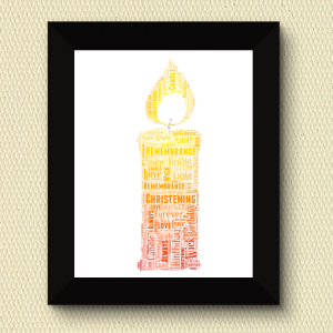 Christening Gifts Candle Word Art Print