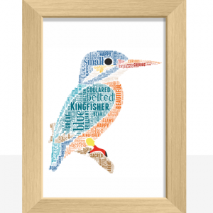 Animal Prints Personalised Kingfisher Word Art Print