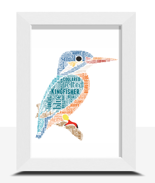 Animal Prints Personalised Kingfisher Word Art Print