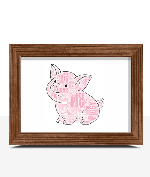 Animal Prints Cute Pig Word Art Print
