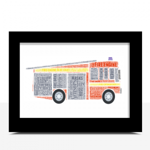Personalised Fire Engine Word Art Print
