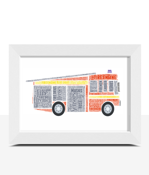 Gifts For Children Personalised Fire Engine Word Art Print