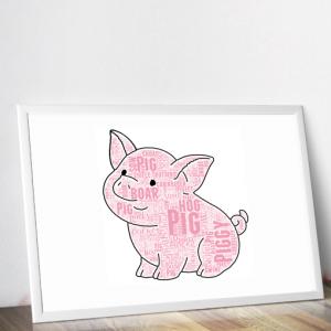 Animal Prints Cute Pig Word Art Print