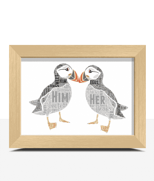 Animal Prints Puffins Word Art Print