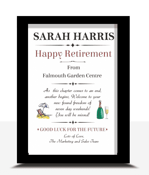 Gifts For Her Happy Retirement Personalised Gift