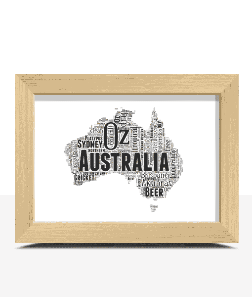 Travel Australia Map Word Art Print
