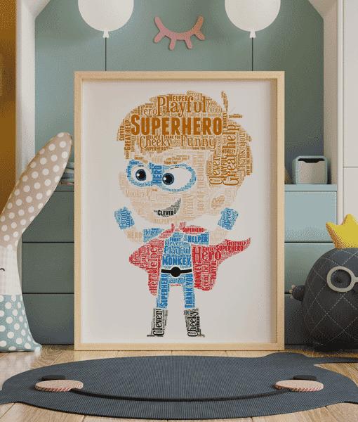 [tag] Super Hero Boy Word Art Print