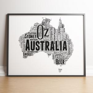 Australia Map Word Art Print