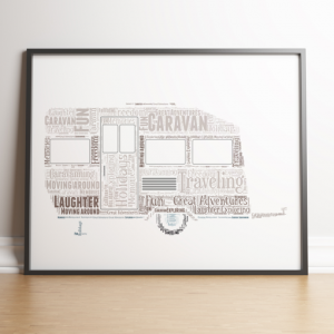 Travel Caravan Word Art Print