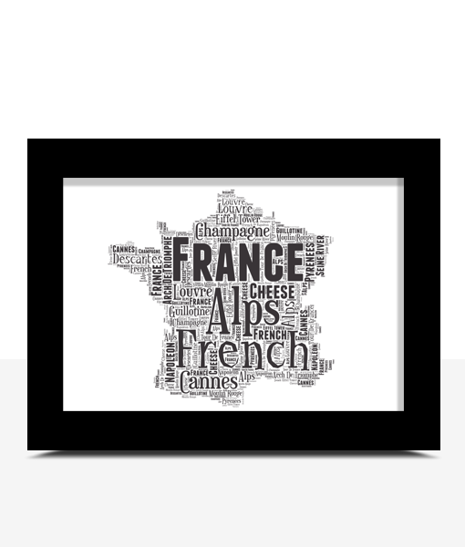 Travel France Map Word Art Print