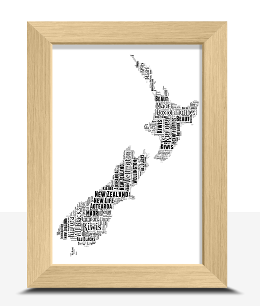 Travel New Zealand Map Word Art Print