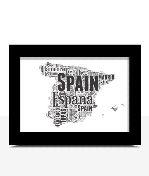 Travel Personalised Spain Map Word Art Print